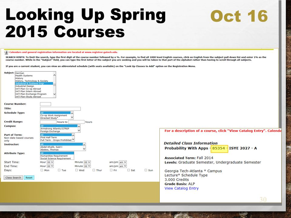 Looking Up Spring 2015 Courses