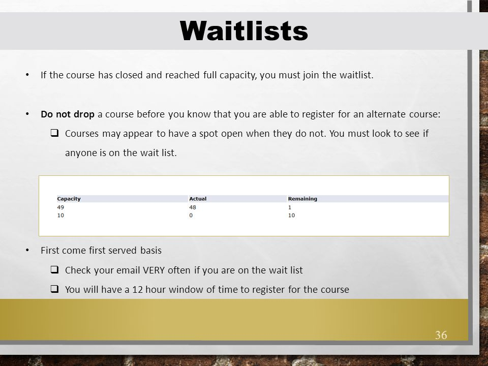 Waitlists If the course has closed and reached full capacity, you must join the waitlist.