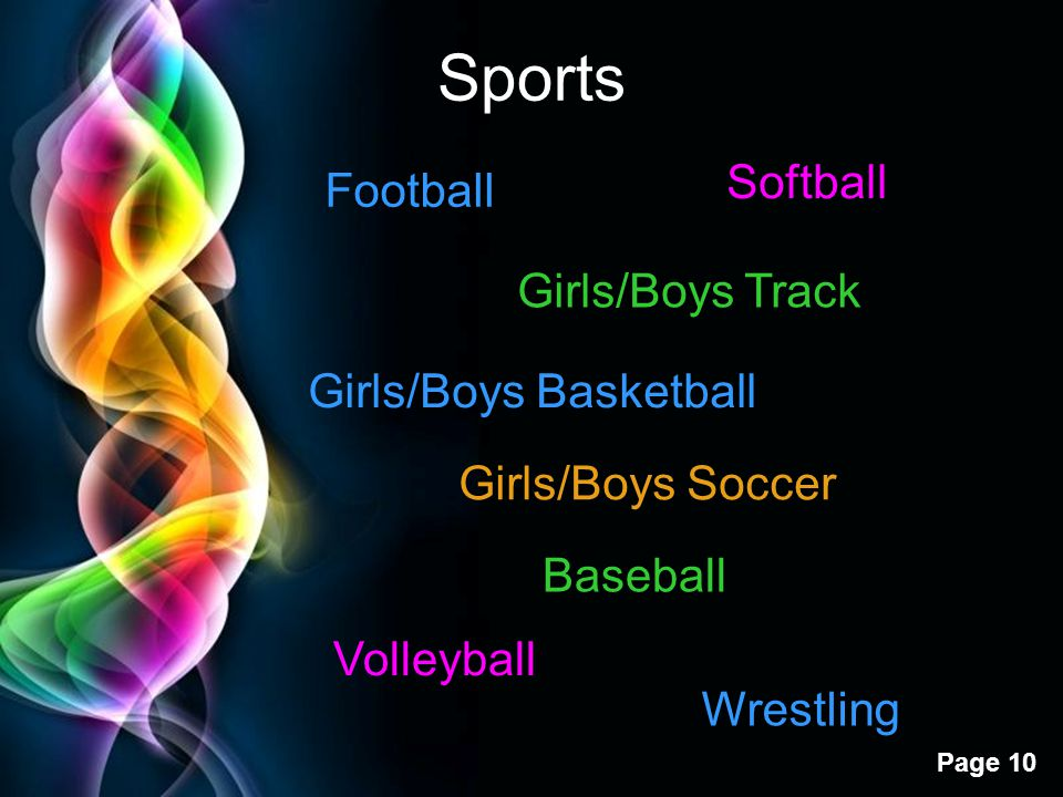 Sports Softball Football Girls/Boys Track Girls/Boys Basketball