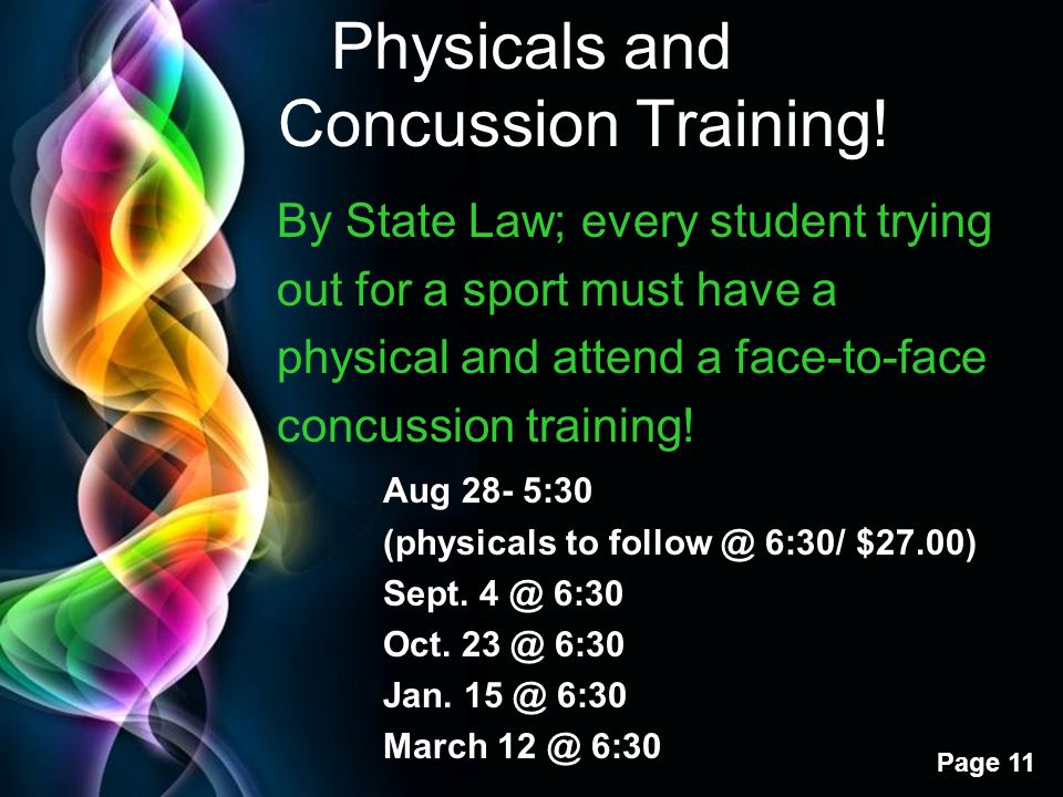 Physicals and Concussion Training!