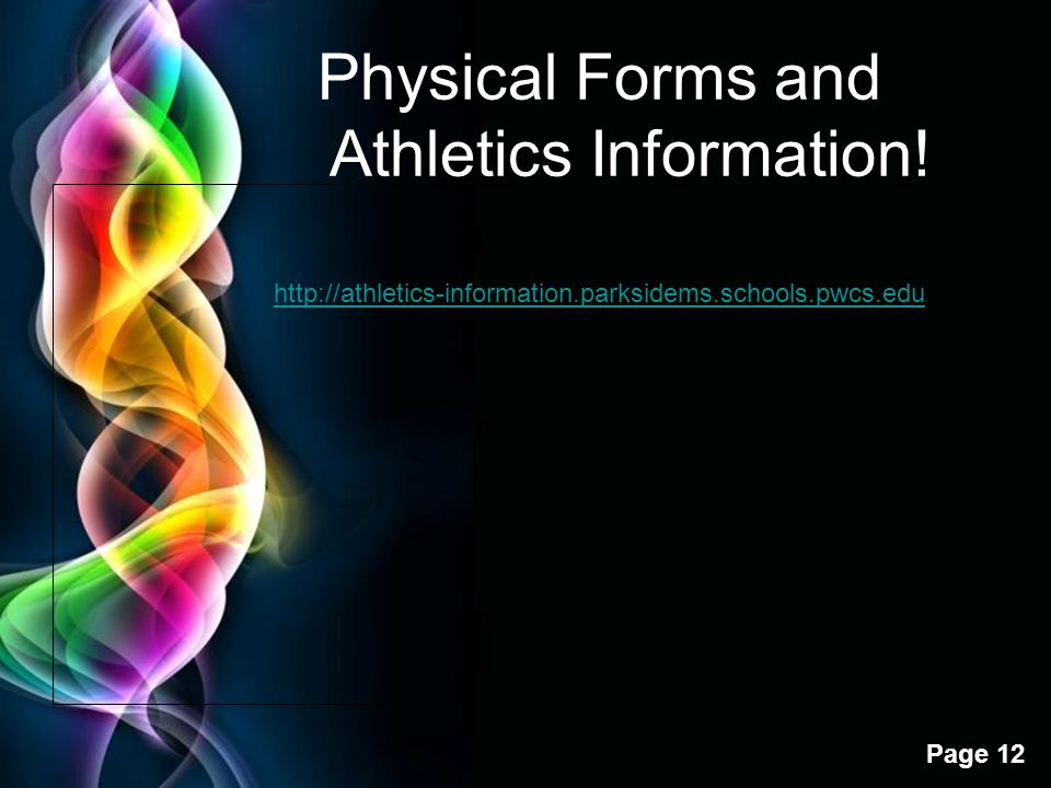 Physical Forms and Athletics Information!