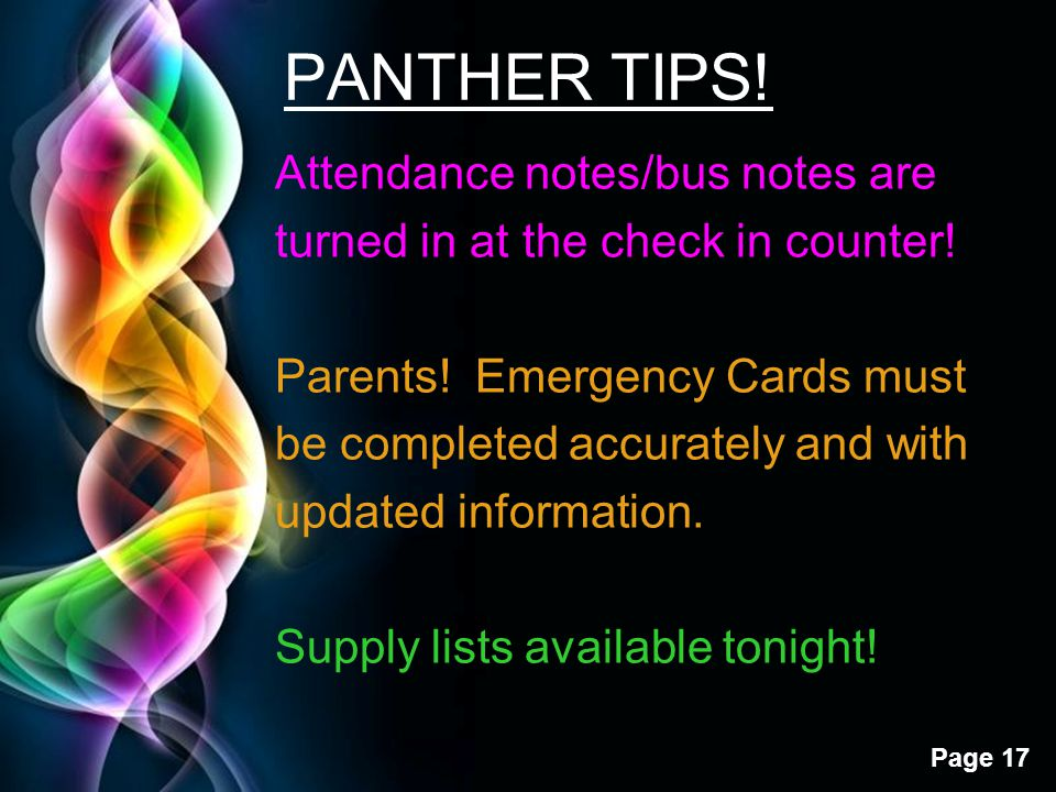PANTHER TIPS!