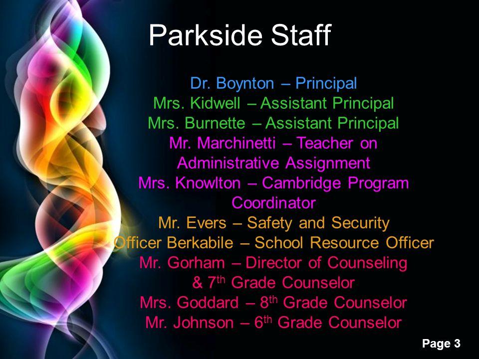 Parkside Staff Dr. Boynton – Principal