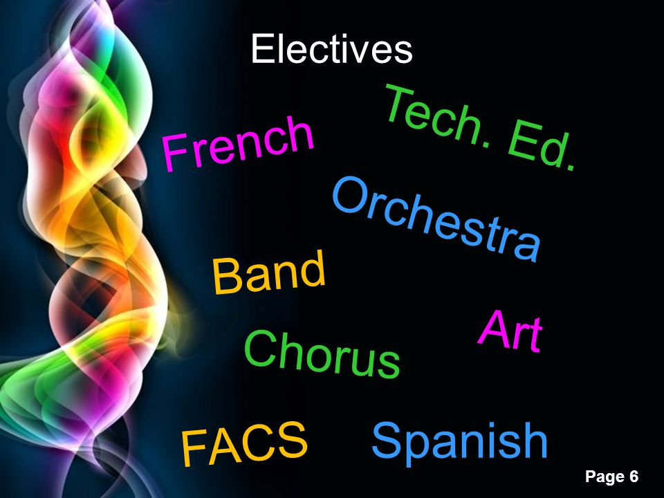 Electives Tech. Ed. French Orchestra Band Art Chorus FACS Spanish