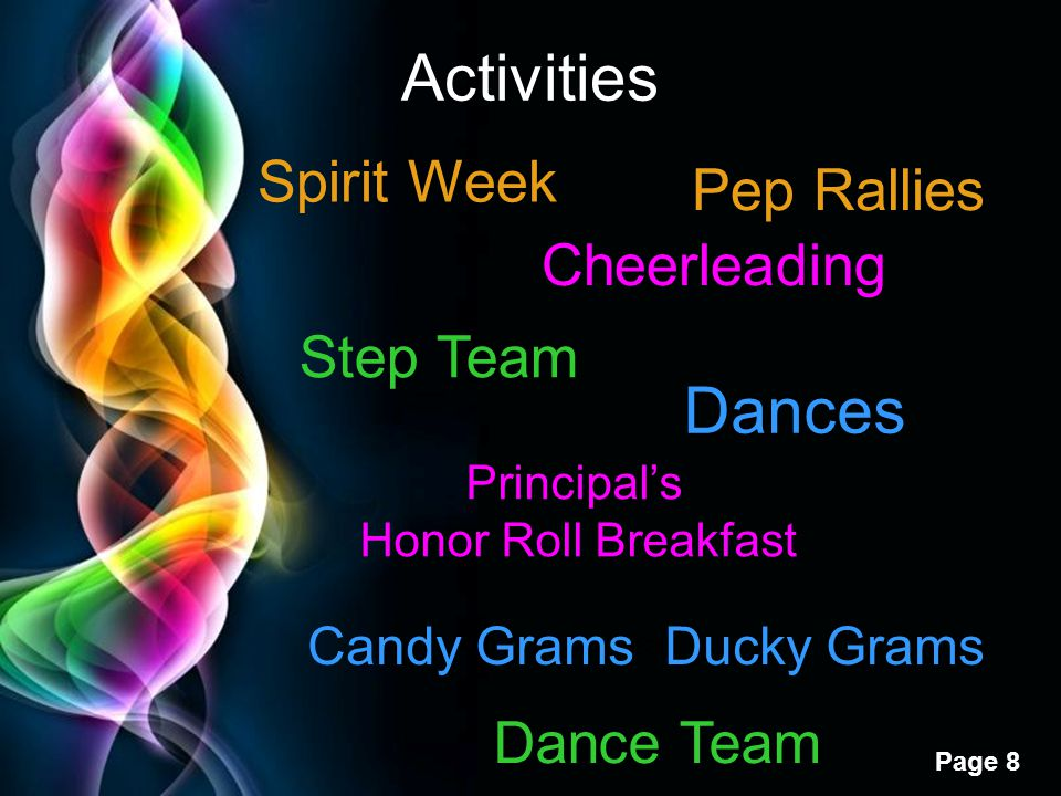 Activities Dances Spirit Week Pep Rallies Cheerleading Step Team