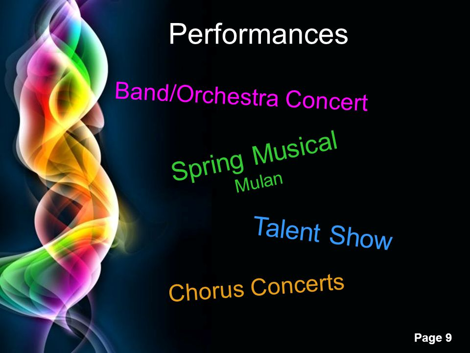 Performances Spring Musical Talent Show Band/Orchestra Concert