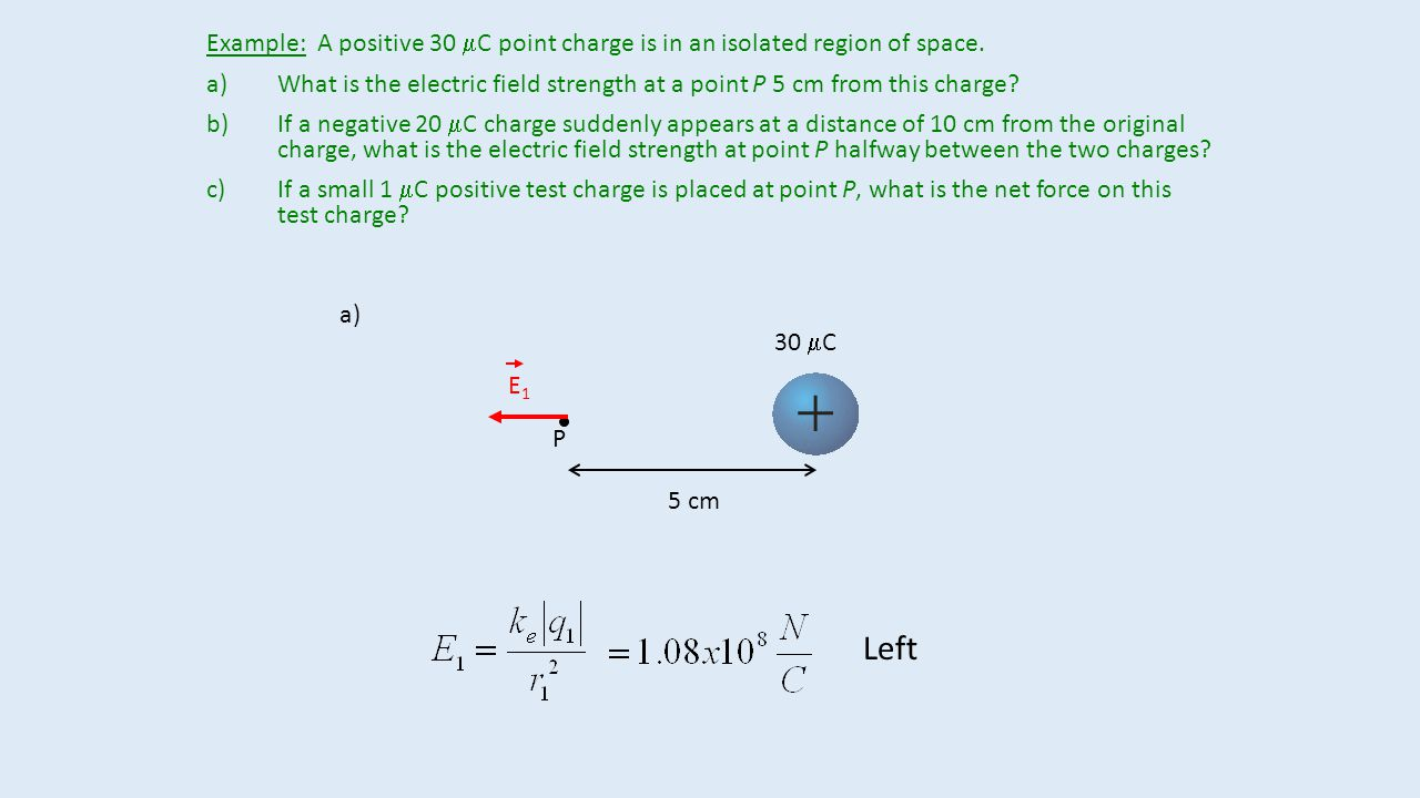 Example: A positive 30 mC point charge is in an isolated region of space.