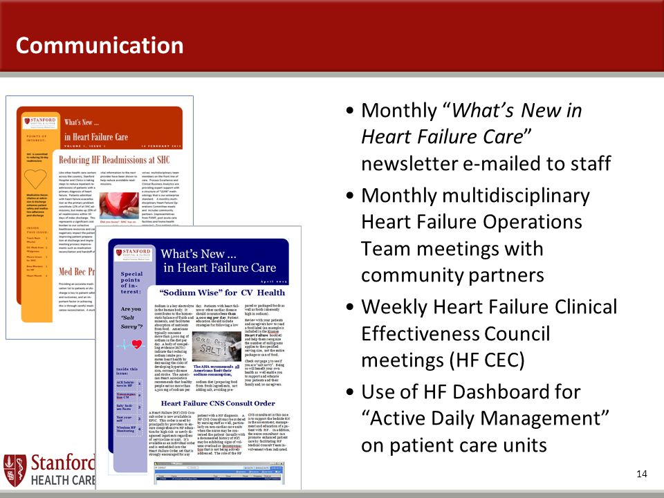Communication Monthly What's New in Heart Failure Care newsletter e-mailed to staff.