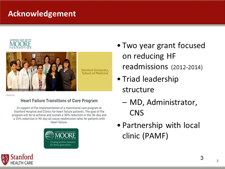 Acknowledgement Two year grant focused on reducing HF readmissions (2012-2014) Triad leadership structure.