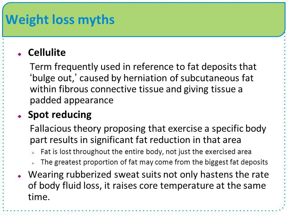 Weight loss myths Cellulite Spot reducing