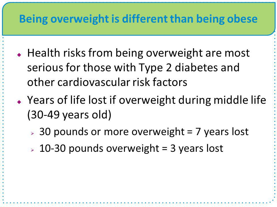 Being overweight is different than being obese