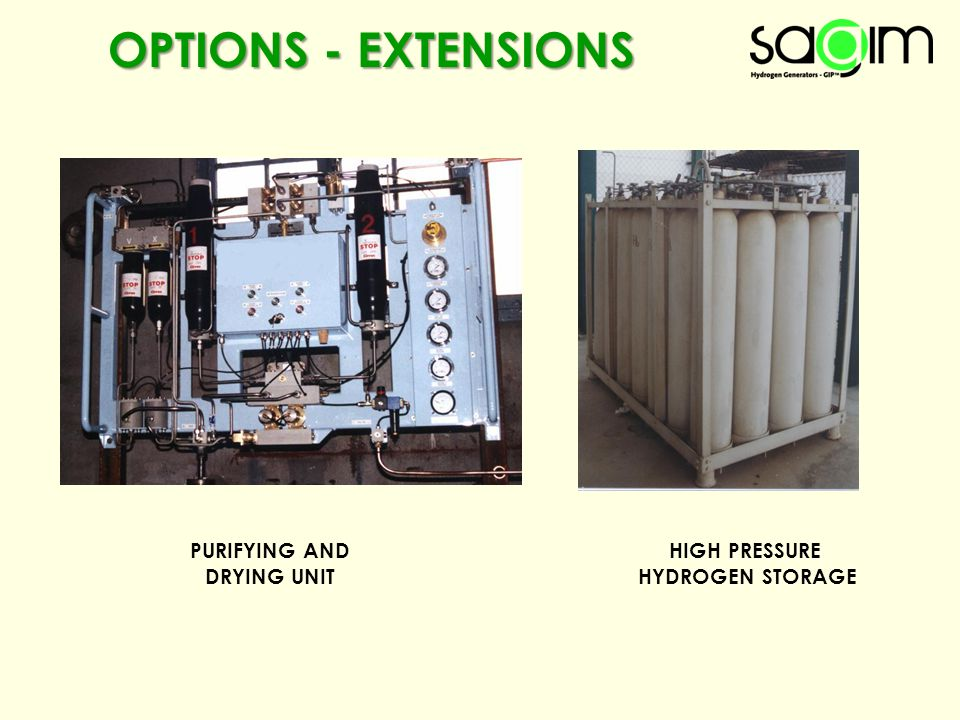 OPTIONS - EXTENSIONS PURIFYING AND DRYING UNIT HIGH PRESSURE