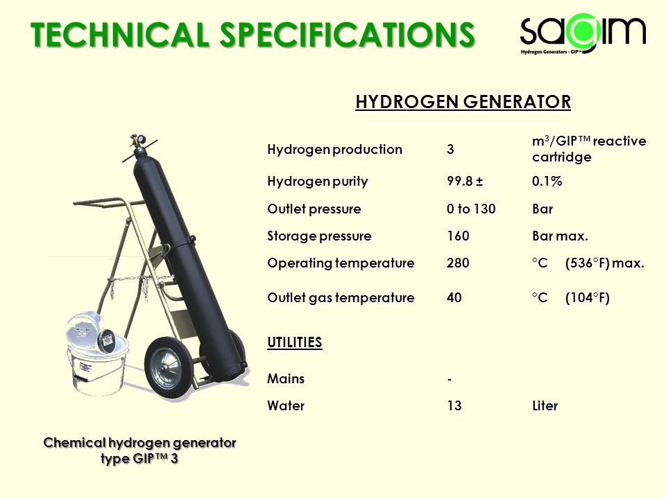 TECHNICAL SPECIFICATIONS Chemical hydrogen generator