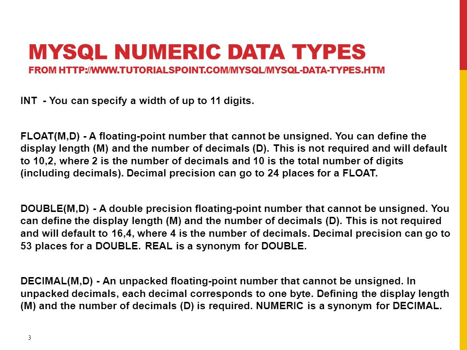 MySQL Numeric Data Types from http://www. tutorialspoint
