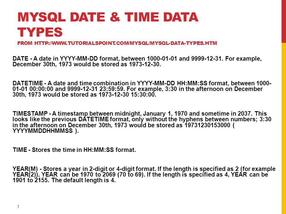 MySQL Date & Time Data Types from http://www. tutorialspoint
