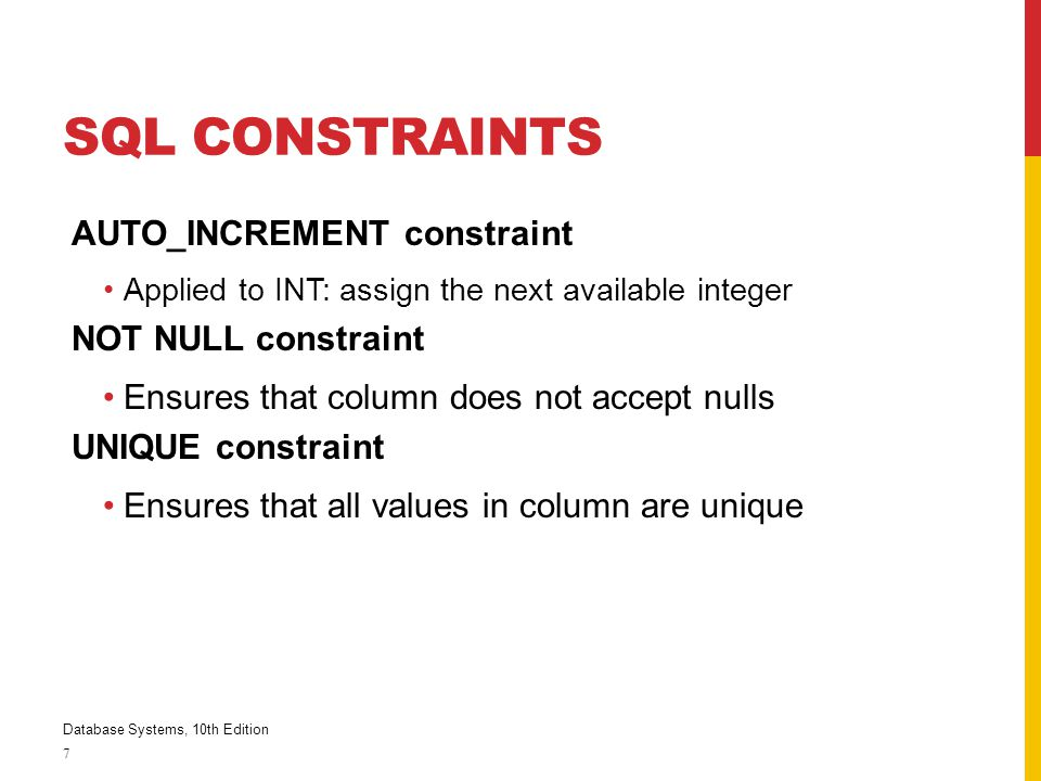 SQL Constraints AUTO_INCREMENT constraint NOT NULL constraint