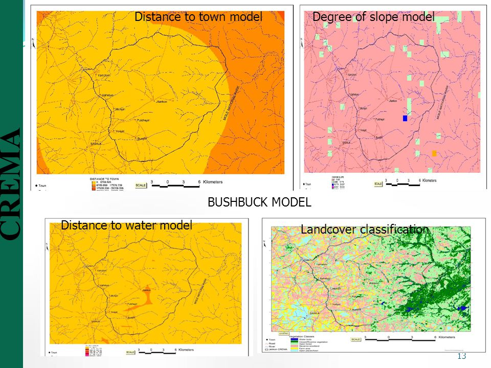 Distance to town model Degree of slope model. BUSHBUCK MODEL.