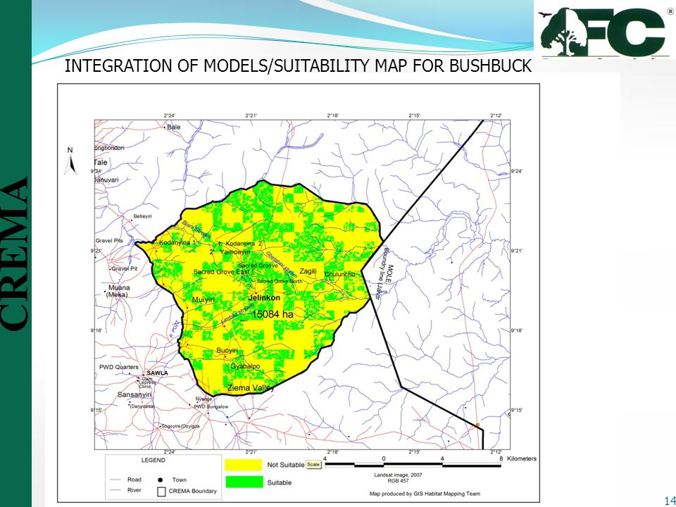 INTEGRATION OF MODELS/SUITABILITY MAP FOR BUSHBUCK