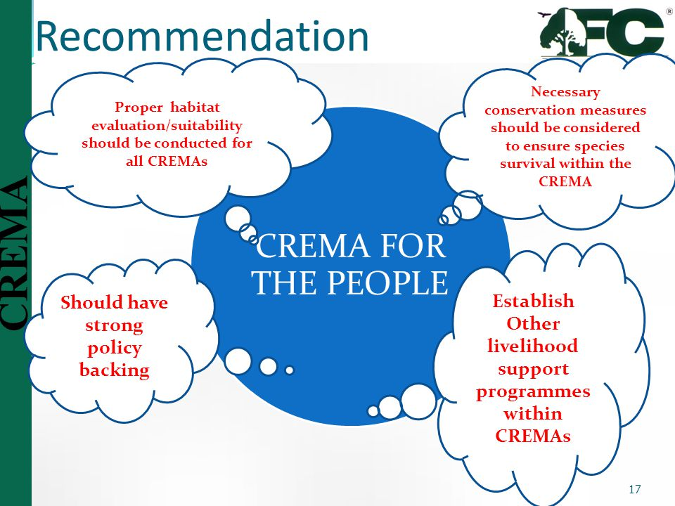 Recommendation CREMA FOR THE PEOPLE Establish
