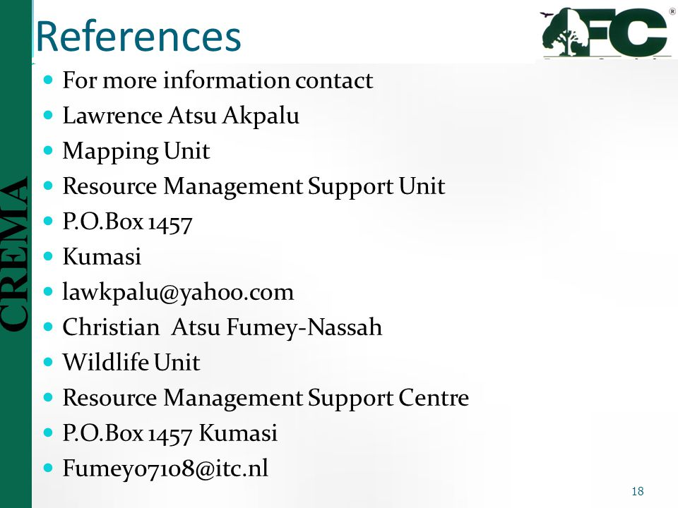 References For more information contact Lawrence Atsu Akpalu
