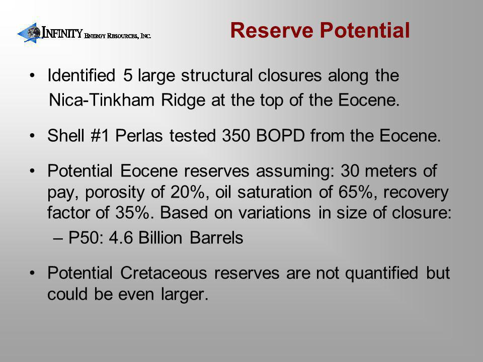 Reserve Potential Identified 5 large structural closures along the