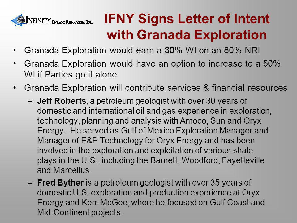 IFNY Signs Letter of Intent with Granada Exploration