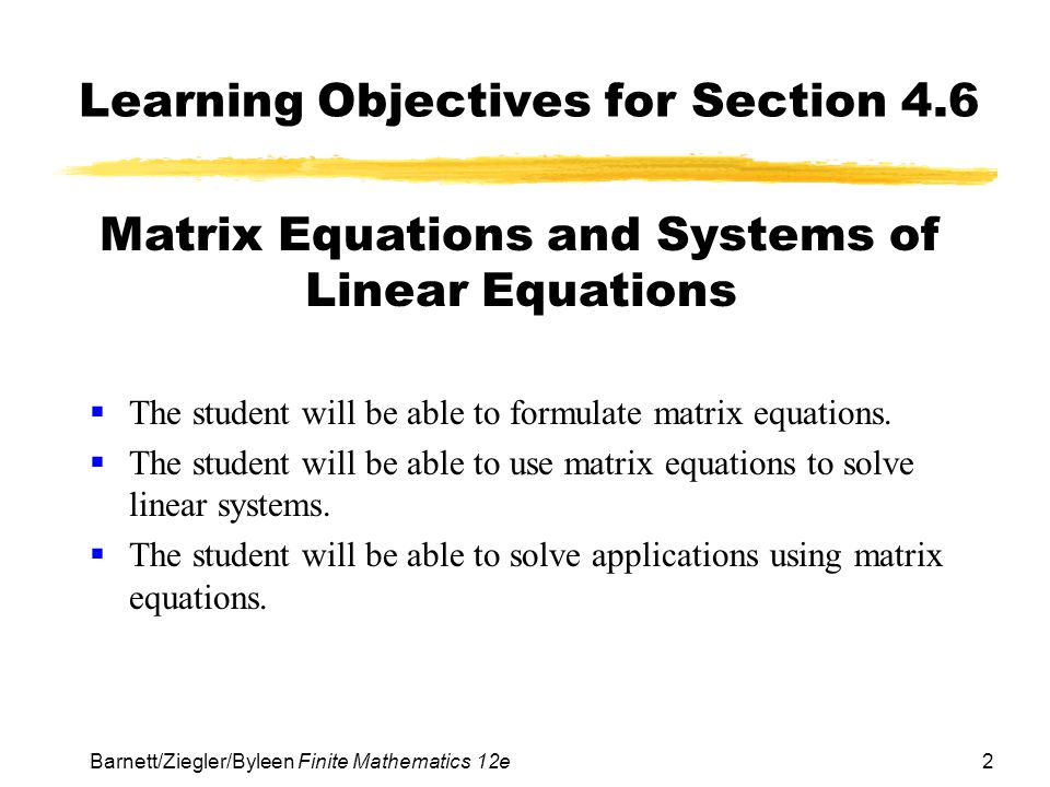 Learning Objectives for Section 4.6
