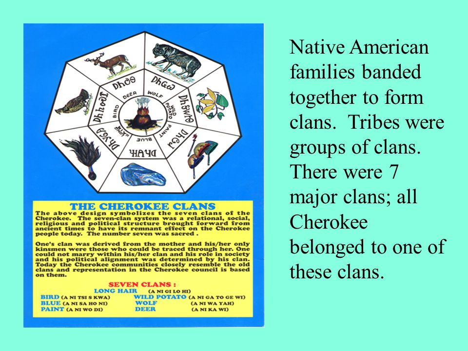 Native American families banded together to form clans