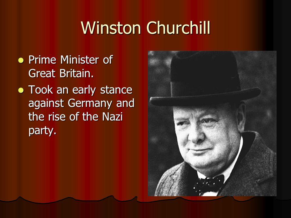 Winston Churchill Prime Minister of Great Britain.