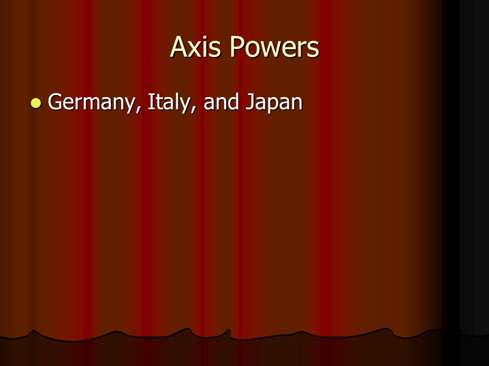 Axis Powers Germany, Italy, and Japan
