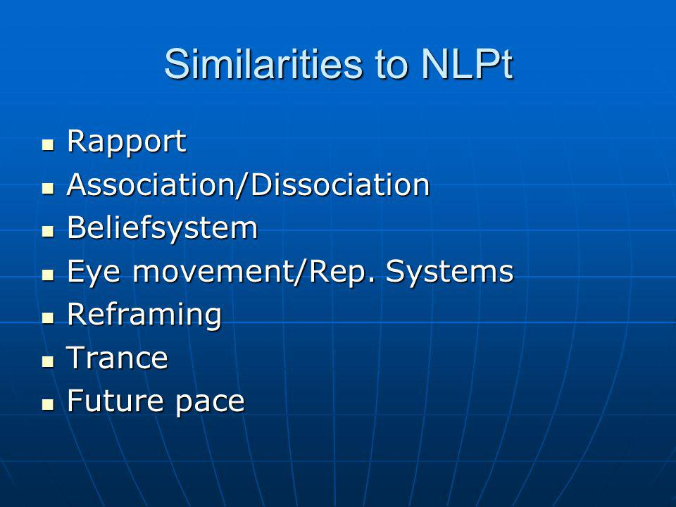 Similarities to NLPt Rapport Association/Dissociation Beliefsystem