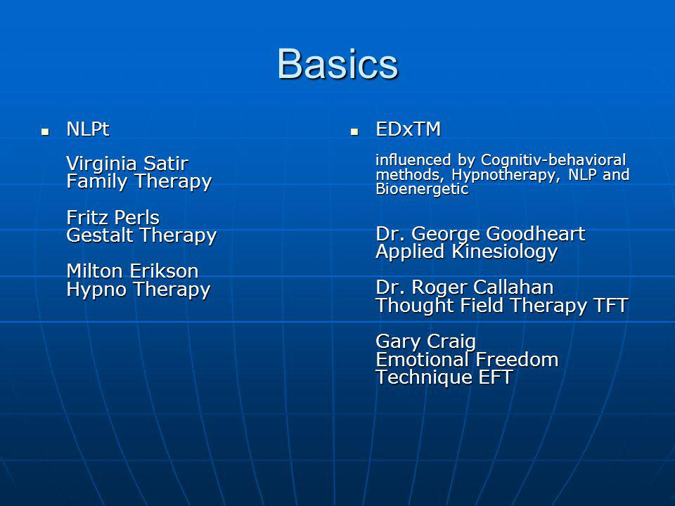 Basics NLPt Virginia Satir Family Therapy Fritz Perls Gestalt Therapy Milton Erikson Hypno Therapy.