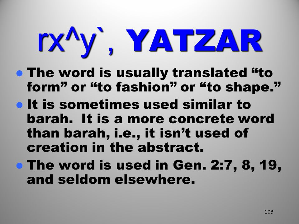 rx^y`, YATZAR The word is usually translated to form or to fashion or to shape.