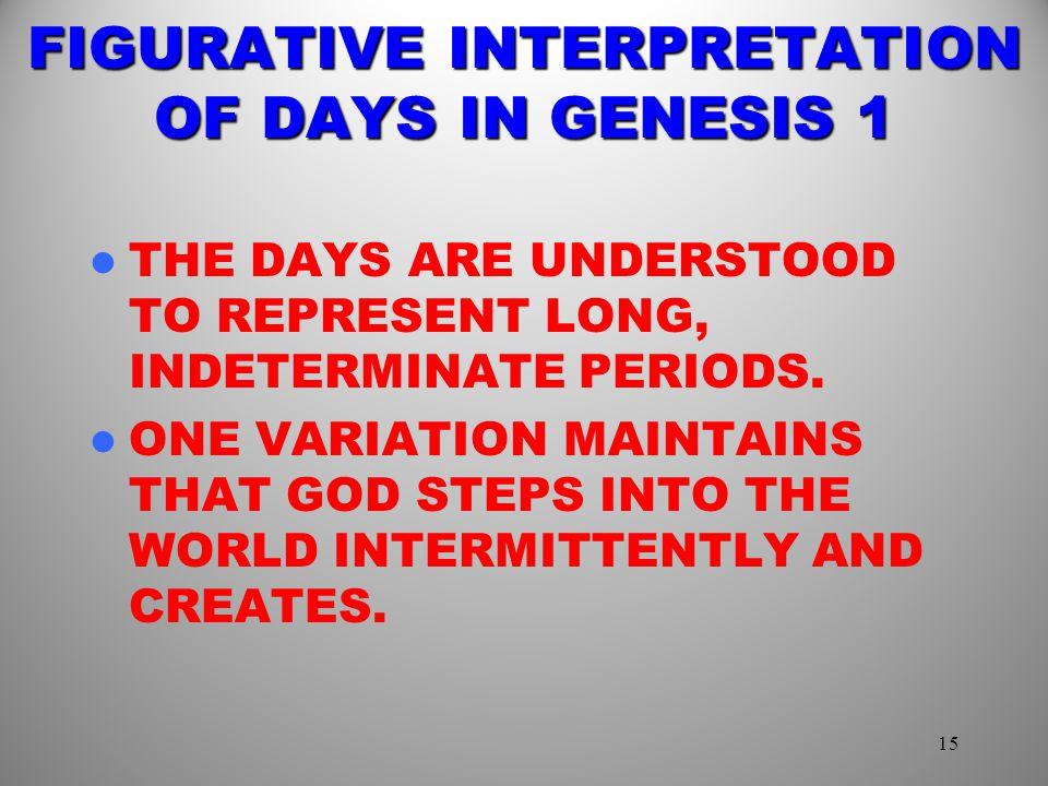 FIGURATIVE INTERPRETATION OF DAYS IN GENESIS 1