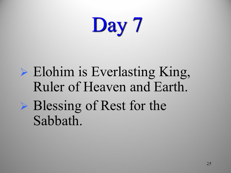Day 7 Elohim is Everlasting King, Ruler of Heaven and Earth.