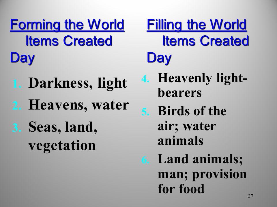 Darkness, light Heavens, water Seas, land, vegetation