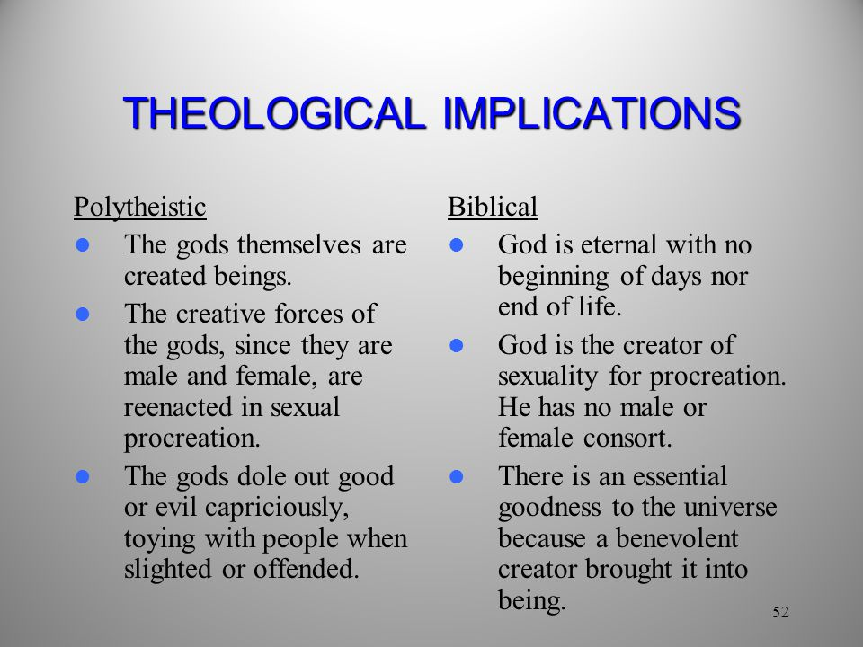 THEOLOGICAL IMPLICATIONS