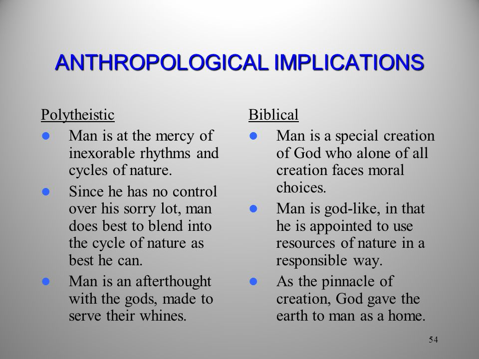 ANTHROPOLOGICAL IMPLICATIONS