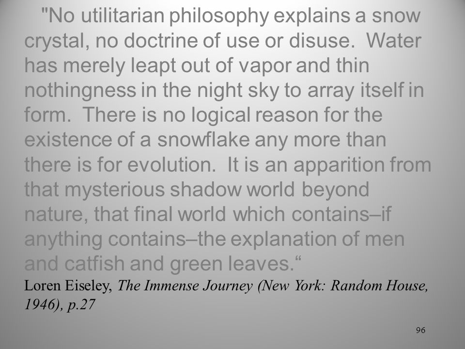 No utilitarian philosophy explains a snow crystal, no doctrine of use or disuse. Water has merely leapt out of vapor and thin nothingness in the night sky to array itself in form. There is no logical reason for the existence of a snowflake any more than there is for evolution. It is an apparition from that mysterious shadow world beyond nature, that final world which contains–if