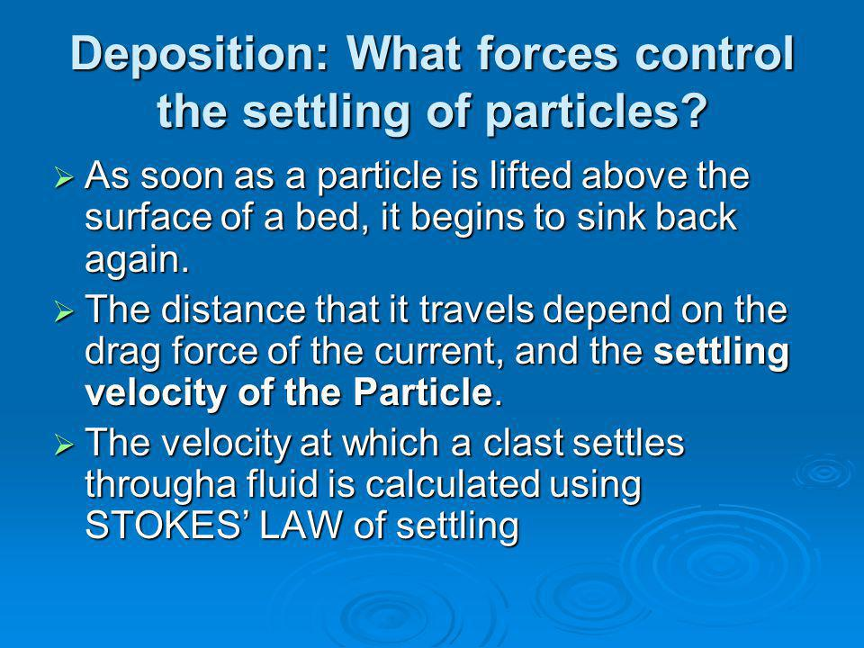 Deposition: What forces control the settling of particles