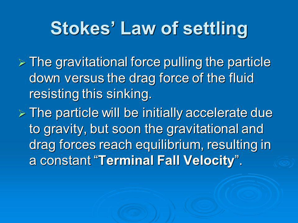 Stokes' Law of settling