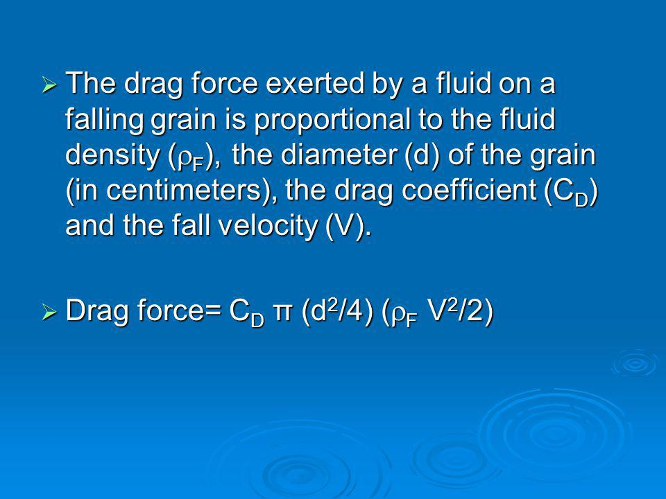 The drag force exerted by a fluid on a falling grain is proportional to the fluid density (F), the diameter (d) of the grain (in centimeters), the drag coefficient (CD) and the fall velocity (V).
