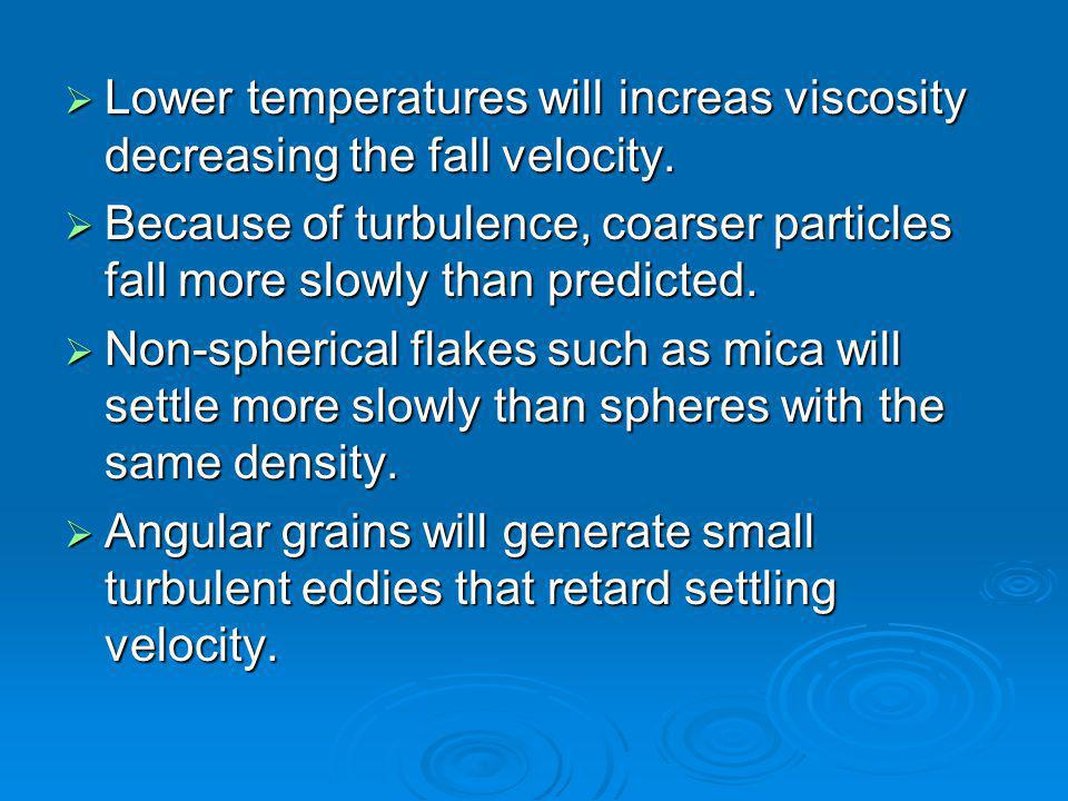 Lower temperatures will increas viscosity decreasing the fall velocity.