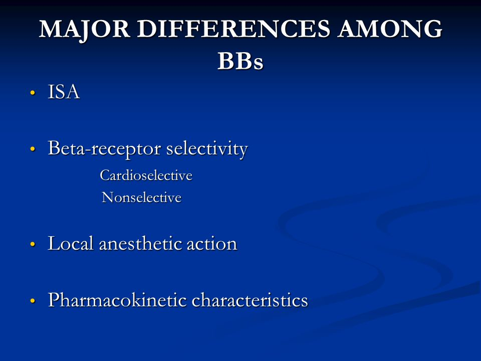 MAJOR DIFFERENCES AMONG BBs