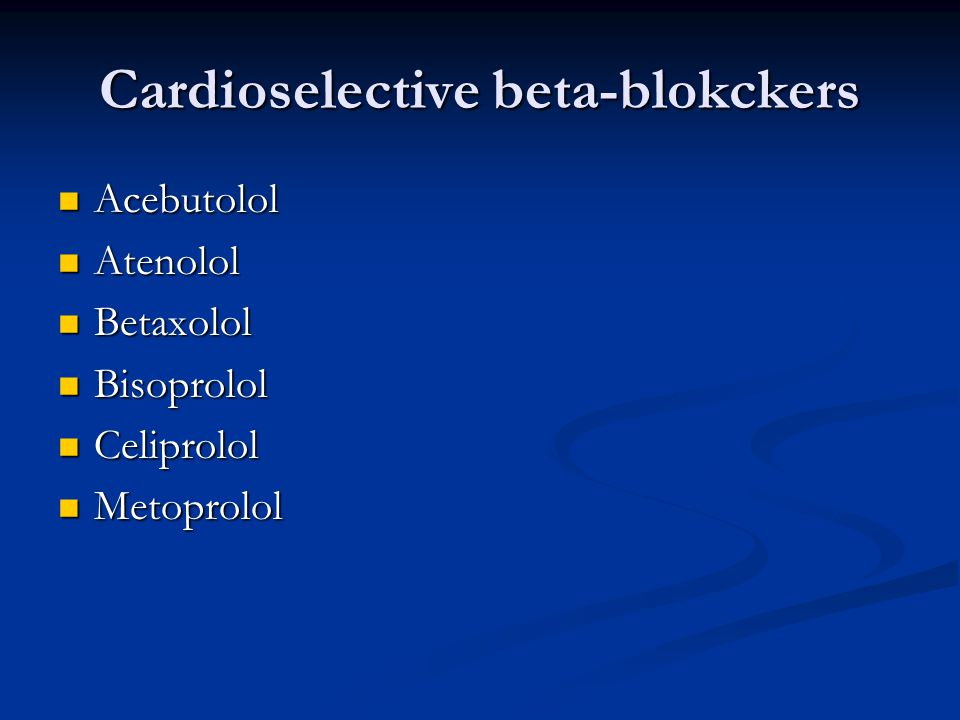 Cardioselective beta-blokckers