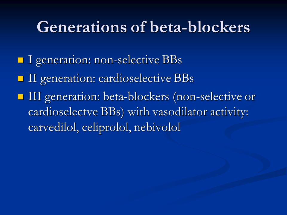 Generations of beta-blockers