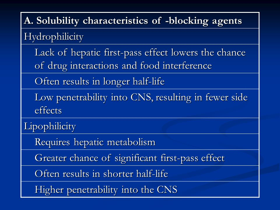 A. Solubility characteristics of -blocking agents