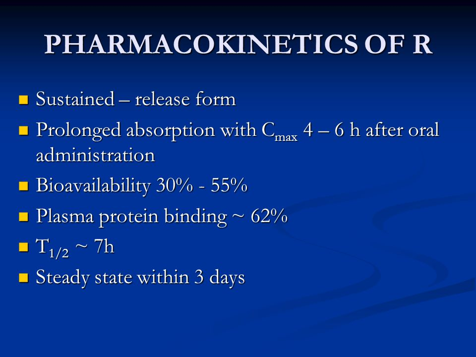 PHARMACOKINETICS OF R Sustained – release form