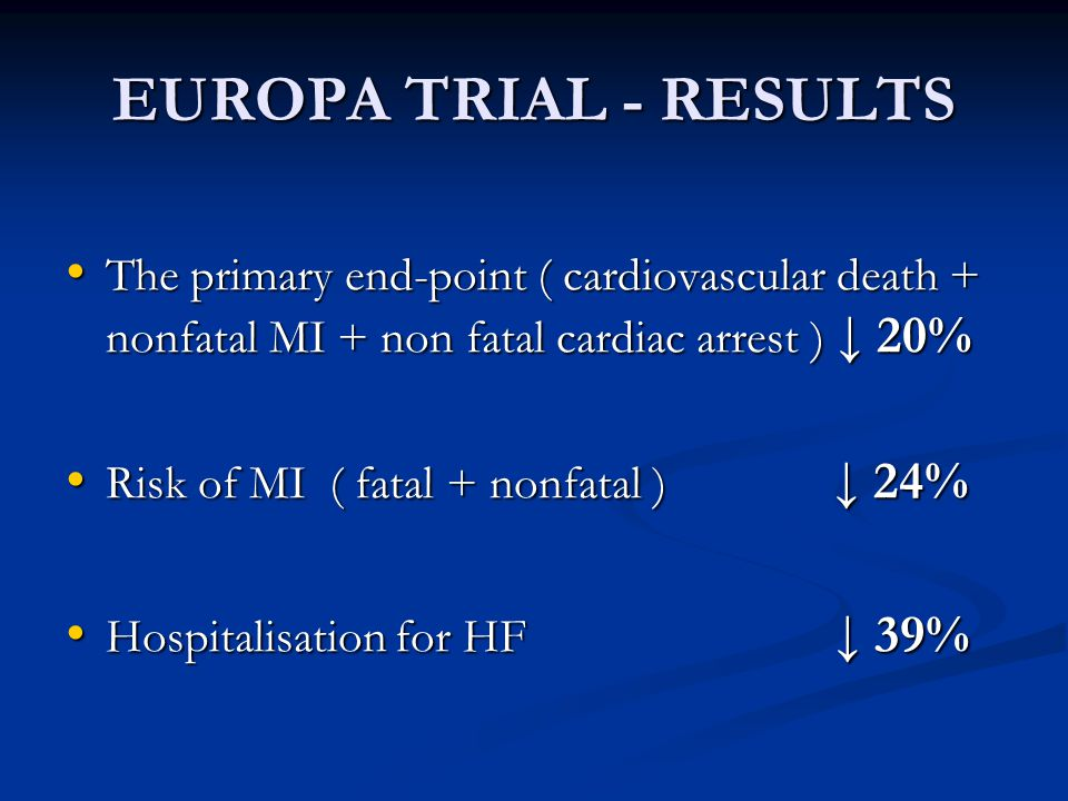 EUROPA TRIAL - RESULTS The primary end-point ( cardiovascular death + nonfatal MI + non fatal cardiac arrest ) ↓ 20%