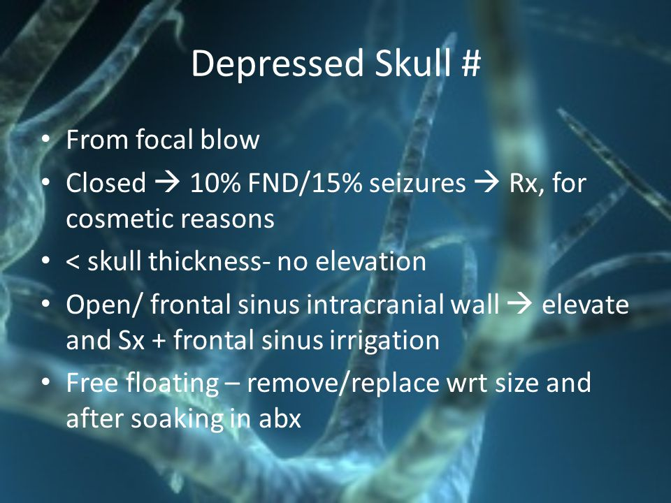 Depressed Skull # From focal blow